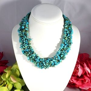 Necklace turquoise seed stones multistrand